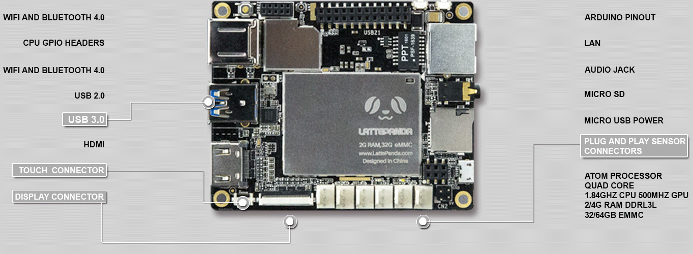 a Win10 Development Board LattePanda 2G//32GB with Win10 Product Key - LattePanda V1.0 Edition