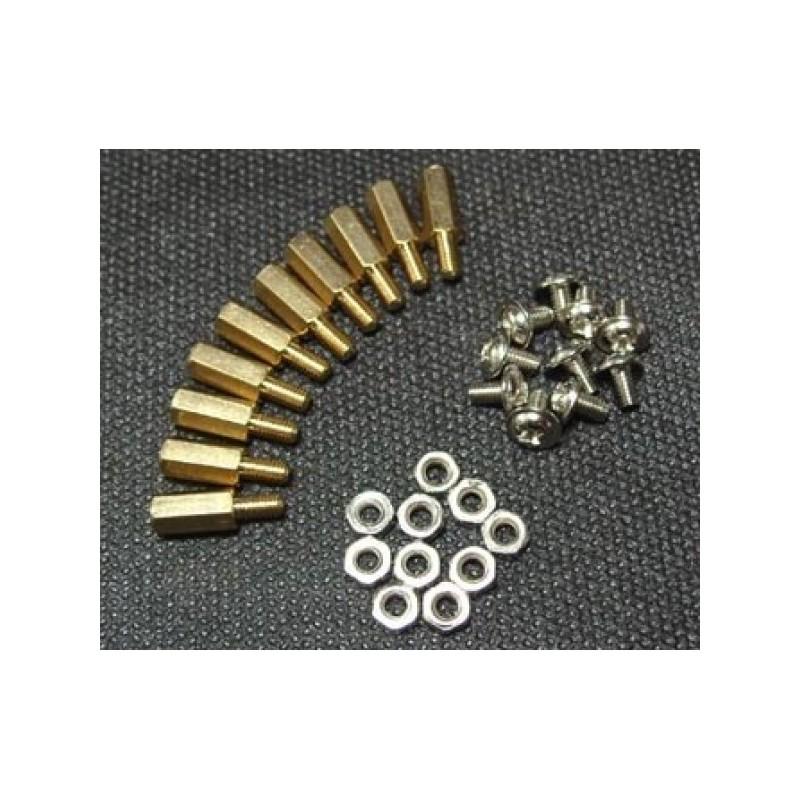 Pack M3 * 10 em latão (10 conjuntos)