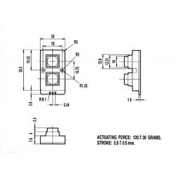 Teclado 2 teclas metalicas