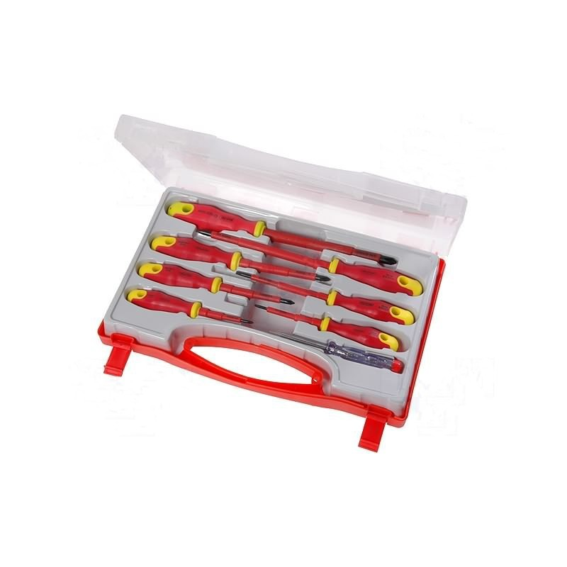 Set of 8 screwdrivers slot and philips