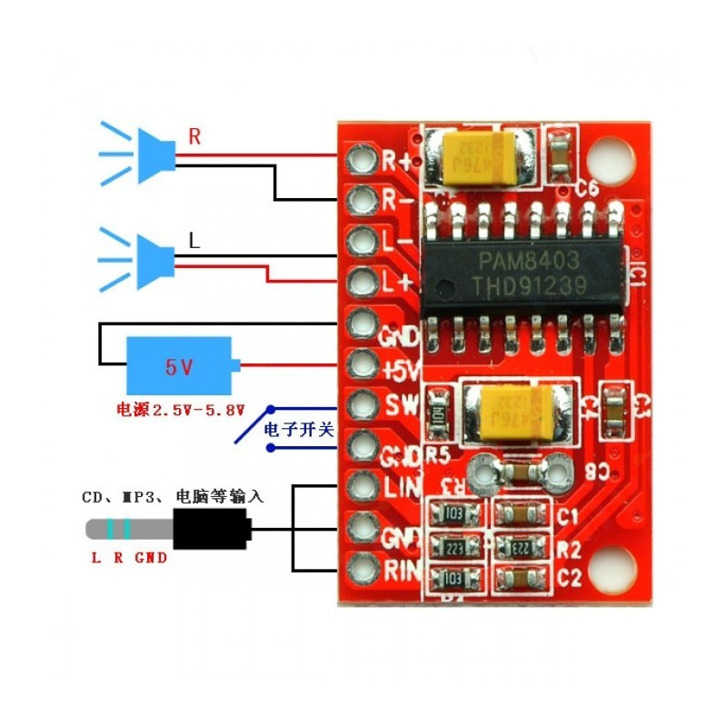 Mini Audio Amplifier Board - PAM8403