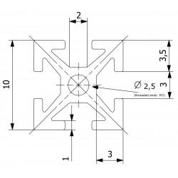 Perfil de Contrução 40mm, 8peças  preto anodizado