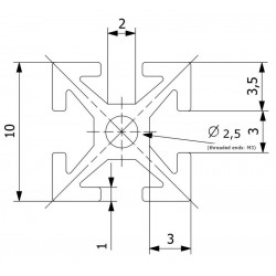 makerbeam 200mm, 8pcs, black anodised