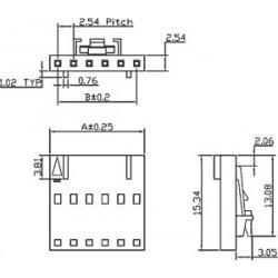 Ficha NCDG 2.54mm c/travão - 6 pinos