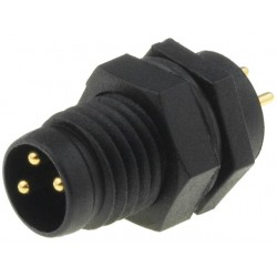 Male connector M8 with 3-pin f/panel