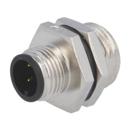 Conector M12 macho 4 pinos p/ painel