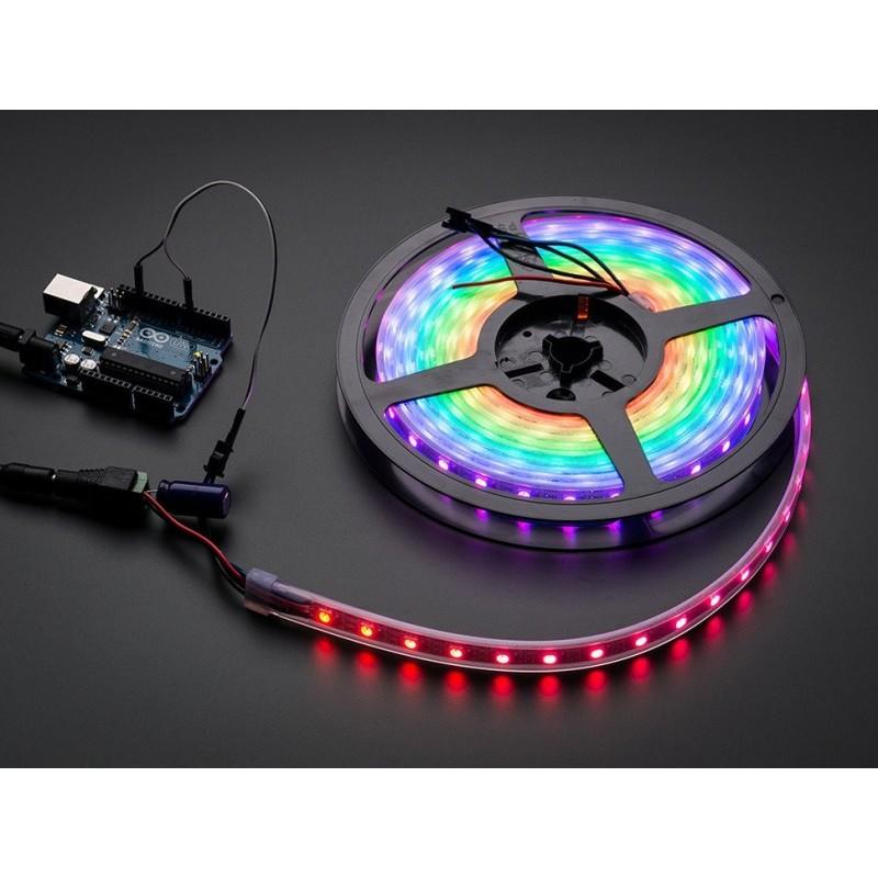 NeoPixel - Fita de LEDs RGB - 60 LEDs (1m) fundo preto