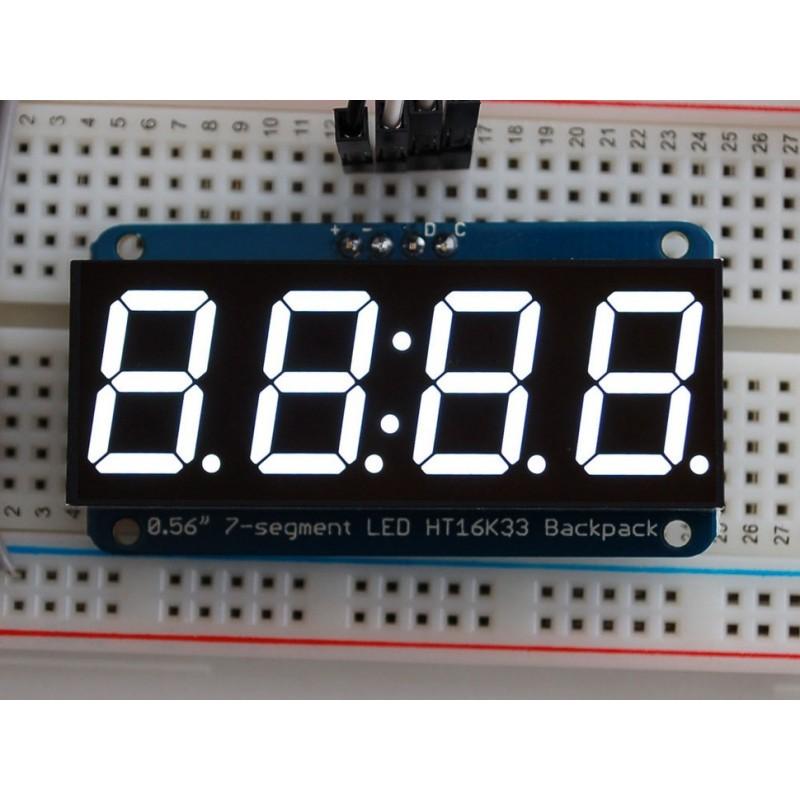 Display 7 segmentos 4 digitos Branco - 14,2mm altura - Interface i2c