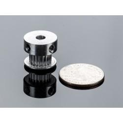 Polia em aluminio GT2 - 20 dentes - centro 5mm - p/ correias de 6mm