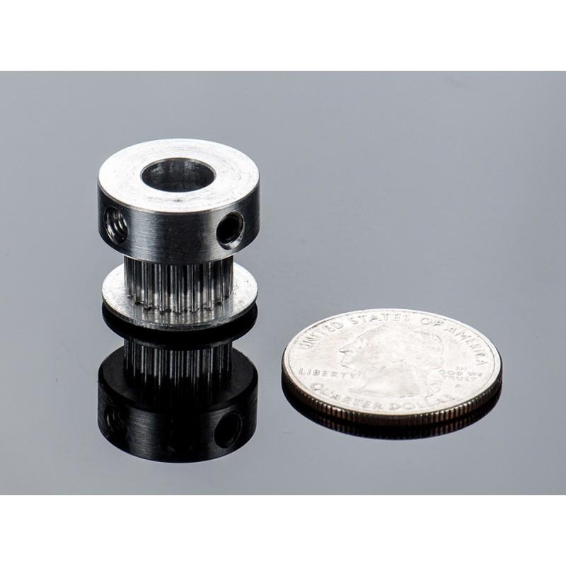 Polia em aluminio GT2 - 20 dentes - centro 8mm - p/ correias de 6mm