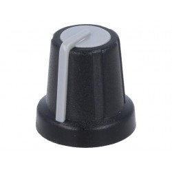 Knob, miniature, Shaft d:6mm, black