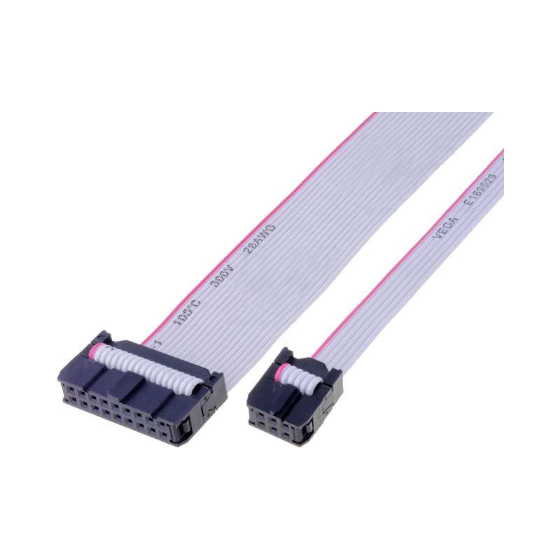 Ribbon cable with IDC connectors, 10x28AWG, Cable ph:1.27mm, 300mm
