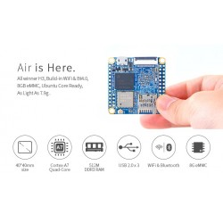 NanoPi Neo Air - 512MB RAM - 8GB EMMC, Wifi, Bluetooth QuadCore Allwinner H3 Quadcore A7 1,2ghz