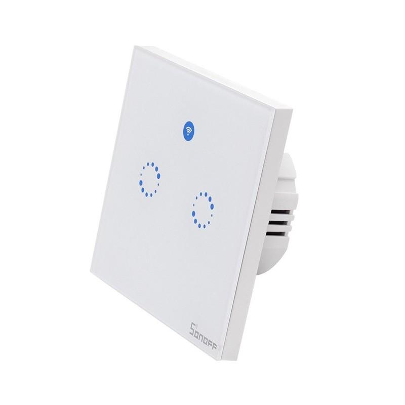 Sonoff T1 EU: Interruptor Duplo WIFI RF capacitivo para montagem em parede