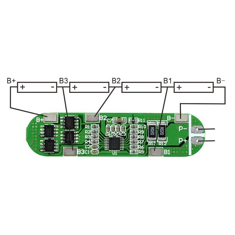 li-ion 18650 BMS Charger PCB Prot  Board, 4S 14 4V~16 8V 6A